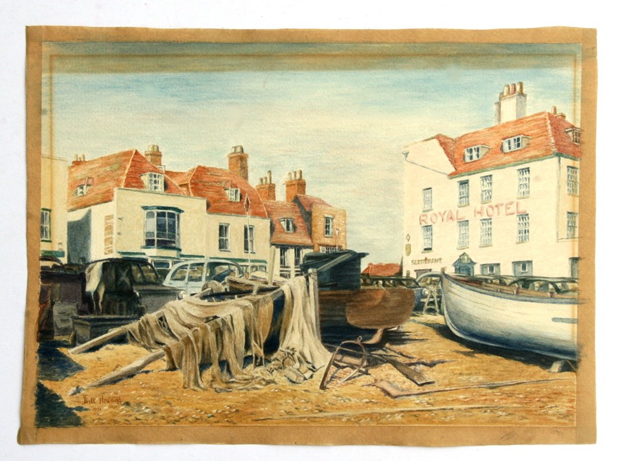 Bill Howard (modern British) - The Royal Hotel with Boats in the Foreground - signed & dated '72