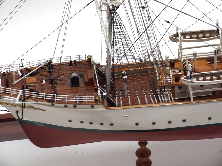A scratch built scale model of a three-masted sailing ship 'The Danmark', approximately 86cms ( - Image 2 of 3