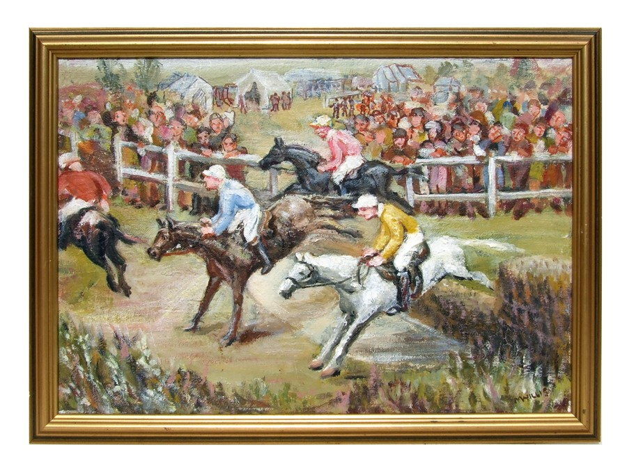 Mildred Willis - The Water Jump - signed lower right, oil on canvas, framed, 50 by 35cms (19.75 by