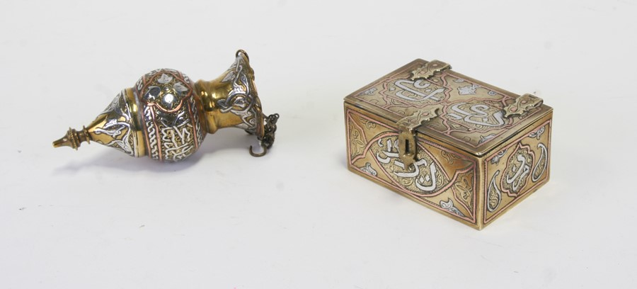 A Persian / Cairo ware casket with copper and silver decoration including Islamic script, 8.5cms (