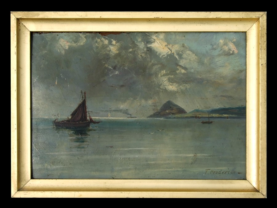 T Henderson (19th century school) - At Anchor, Holy Island, Arran - signed lower right, oil on