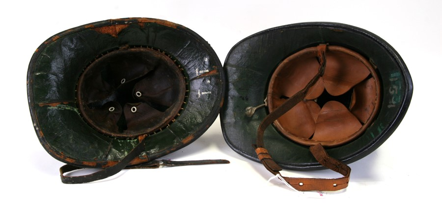 An original black leather, cloth and cork fireman's helmet with Shropshire Fire Brigade insignia and - Image 2 of 2