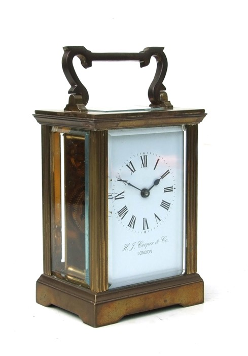 A four-pillar gilt brass carriage clock, the rectangular enamel with Roman numerals and signed 'H - Image 3 of 4