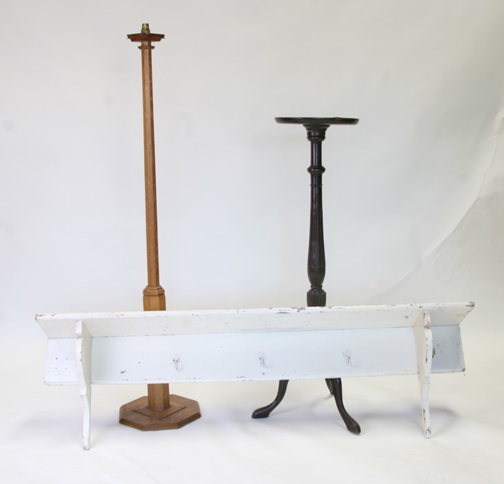 A set of painted pine coat hooks; together with a mahogany torchere; and an early 20th century oak - Image 2 of 2