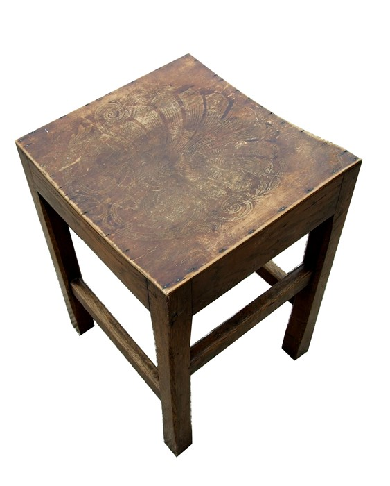 An oak corner stick stand, a mahogany bedside table, a poker work stool and a bedroom chair (4) - Image 2 of 2