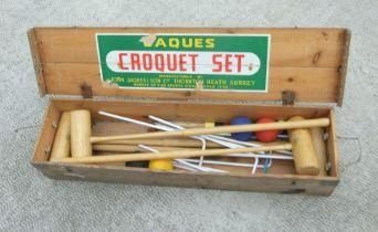 A boxed Jacques croquet set.