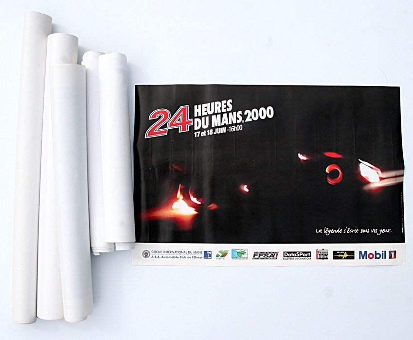 A collection of Le Mans 24-hour posters including 2000, 2001, 2003 and other motor sport related