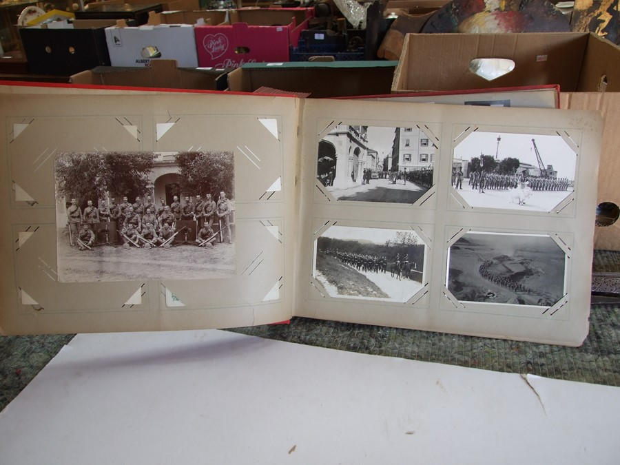 Approximately 200 early to mid 20th century Military postcards and photographs contained in a red - Image 7 of 19