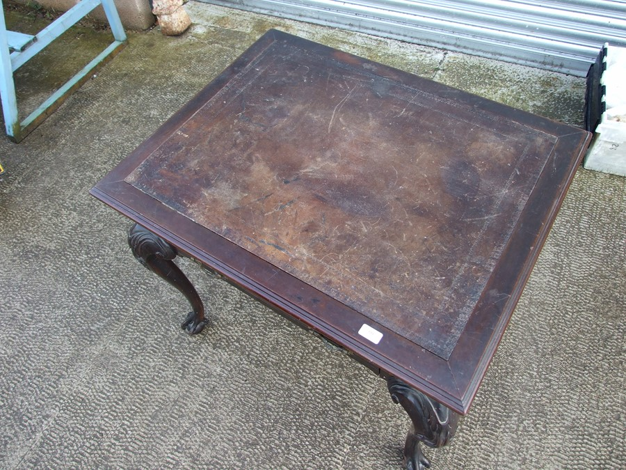 An 18th century (possibly Irish) mahogany writing table, the rectangular top inset with a later - Image 8 of 12