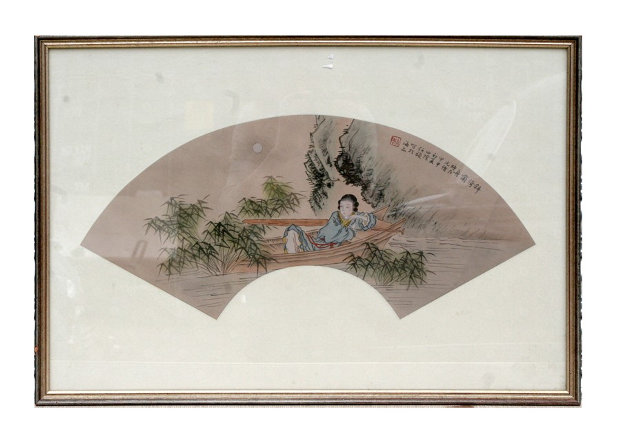 A Chinese silk embroidered panel depicting a butterfly amongst flowering foliage, 24 by 64cms (9.5 - Image 2 of 2