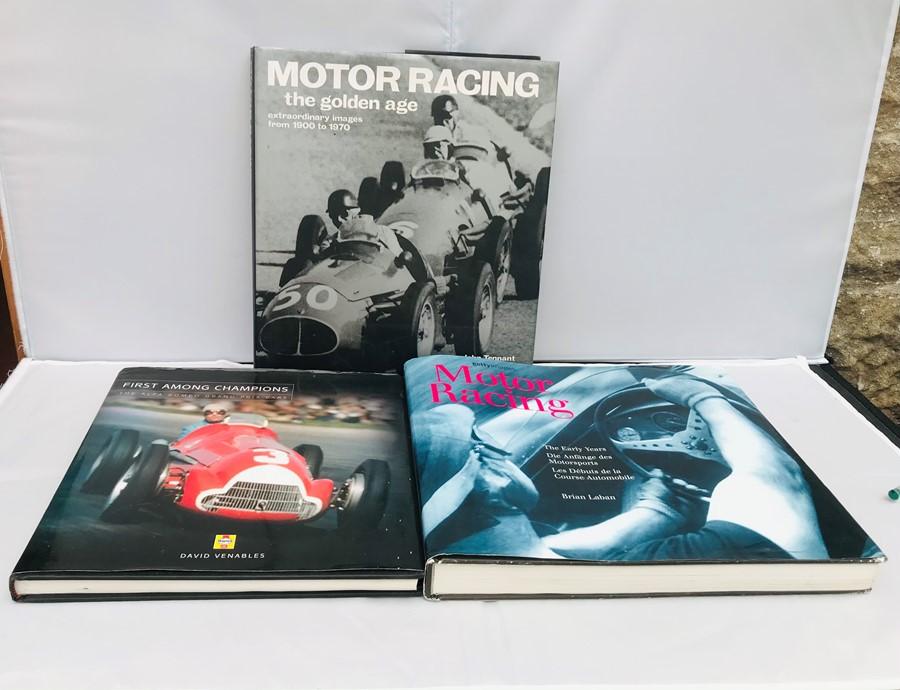Three Motor Racing reference books: Tennant (John), Motor racing – The Golden Age 1900 – 1970; Laban
