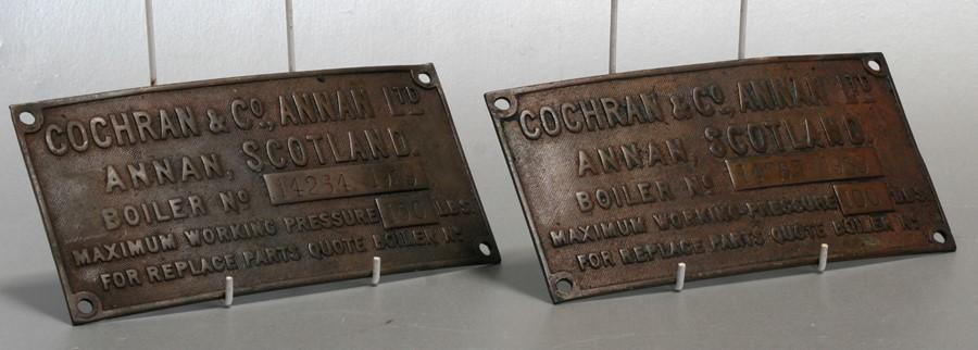 Two Cochran & Co. Annan Ltd, Annan Scotland, boiler plaques no. 14264 1939, each 22 by 11cms (8.5 by