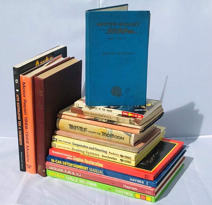 Assorted motoring volumes including Austin-Healey 3000 MK's I & II Driver's Handbook, Motor