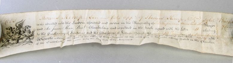 A copy of the scroll 'Freedom of the City of London' dated 1839 contained with a bespoke cylindrical