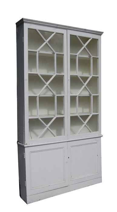 A pair of painted pine bookcases on cupboards, the pair of glazed doors enclosing a shelved interior - Image 4 of 11
