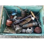 A quantity of assorted brass greasers, oil cans and foot pumps.