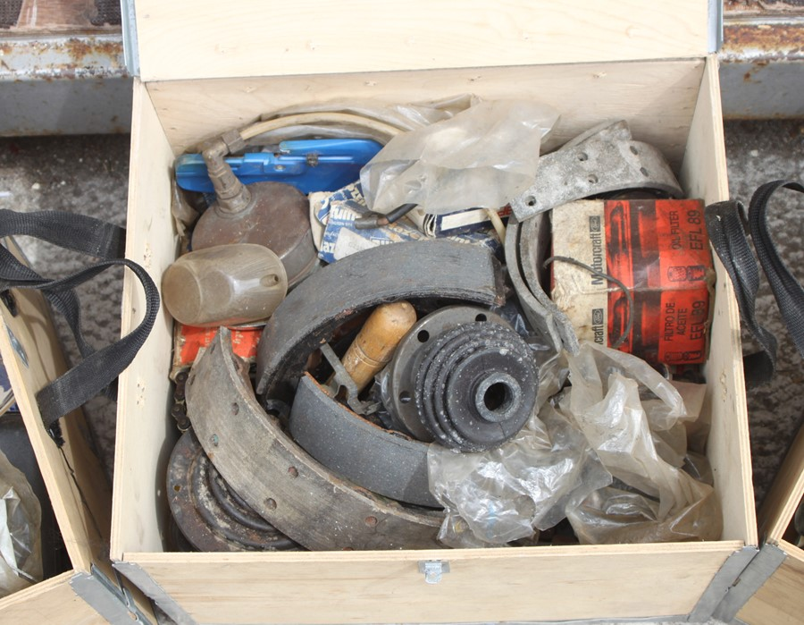Three boxes containing various spares and consumables (3).