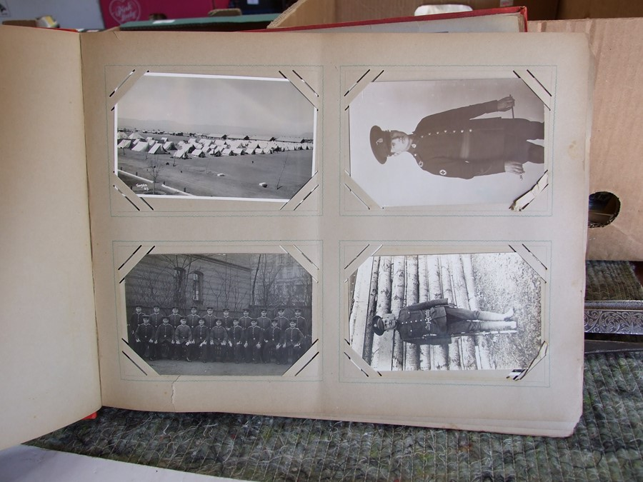 Approximately 200 early to mid 20th century Military postcards and photographs contained in a red - Image 6 of 19