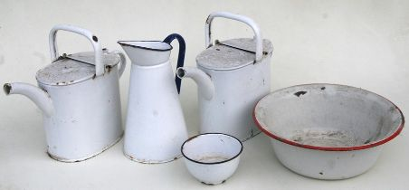 Two enamel water cans; and other enamel items.