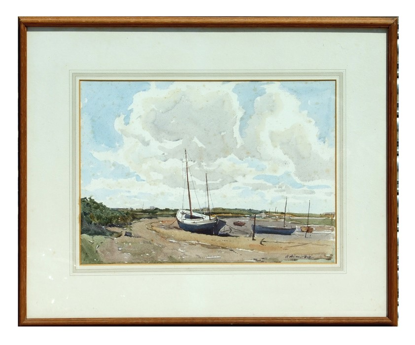 Adrian Hill (20th century British) - Boats in an Estuary at Low Tide - signed lower right,