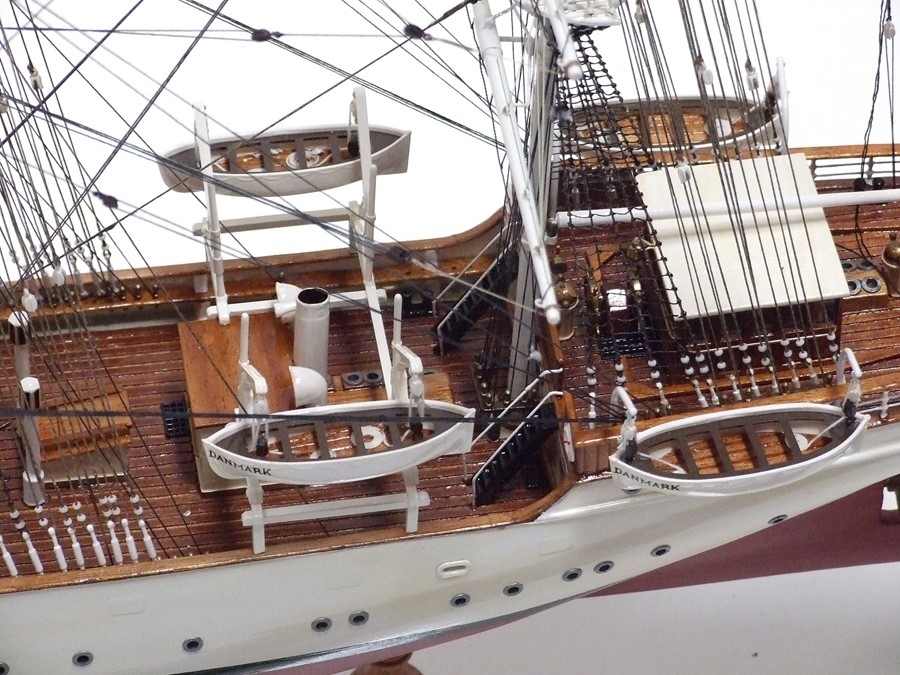 A scratch built scale model of a three-masted sailing ship 'The Danmark', approximately 86cms ( - Image 3 of 3