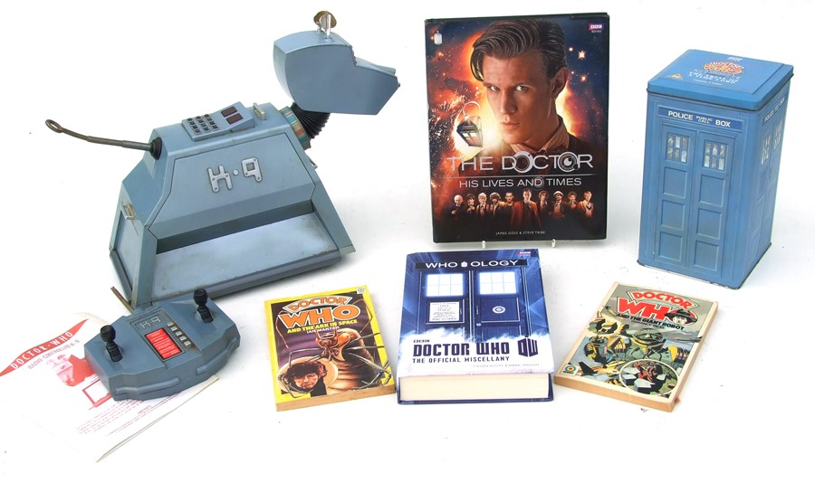 Dr Who interest. A remote control K9; together with other Dr Who related items.