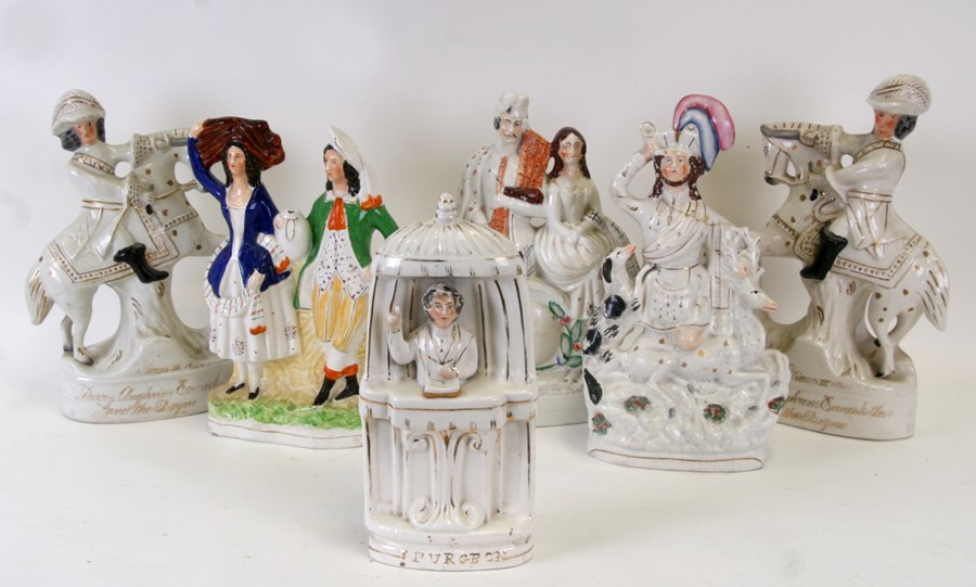 A group of 19th century Staffordshire flatback figures, the largest 35cms (13.75ins) high (6).