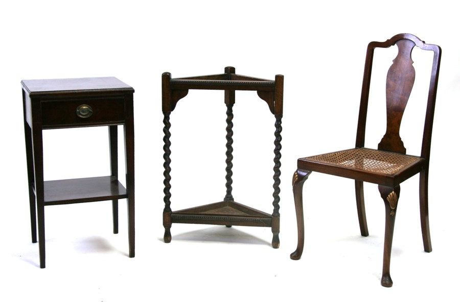 An oak corner stick stand, a mahogany bedside table, a poker work stool and a bedroom chair (4)