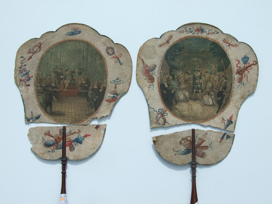 A 19th century papier mache face screen decorated a scene of the Cathedral at Milan together other - Image 3 of 4