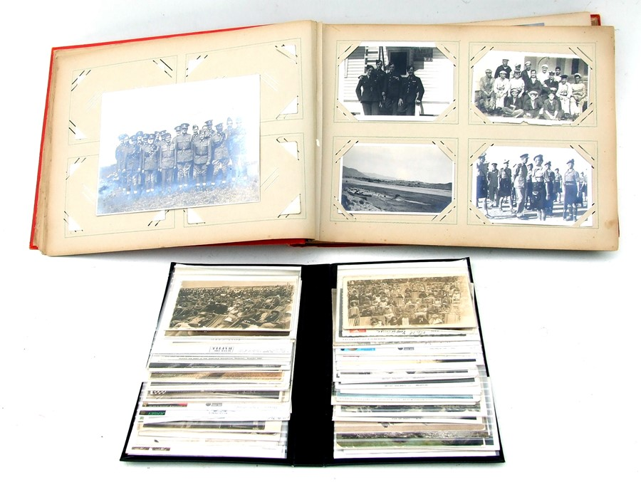 Approximately 200 early to mid 20th century Military postcards and photographs contained in a red - Image 2 of 19