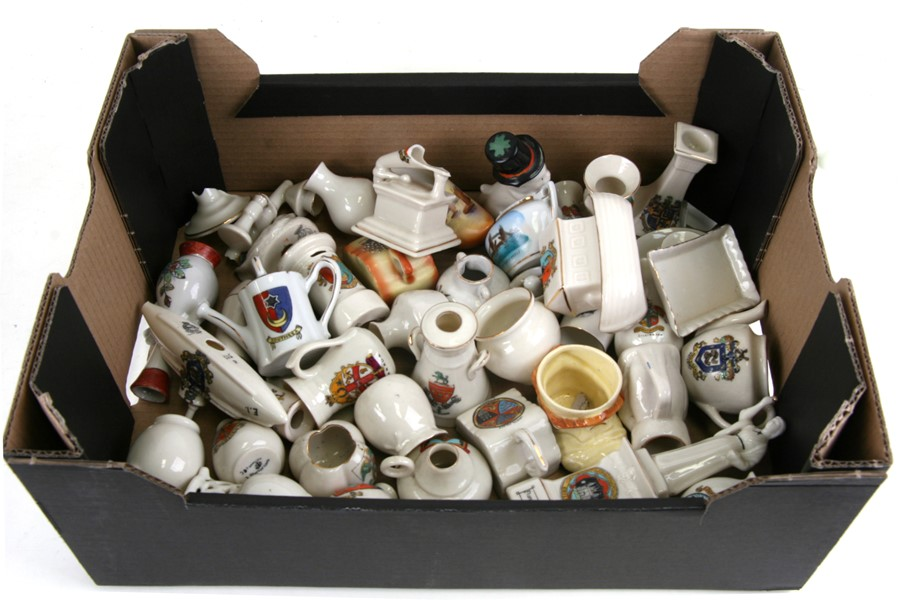 A quantity of crested ware to include Noah's Ark, Florence Nightingale and a milk churn.