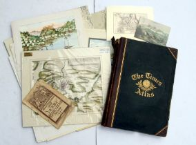 A group of Admiralty maps; together with unframed 19th century maps, watercolours, prints, The Times
