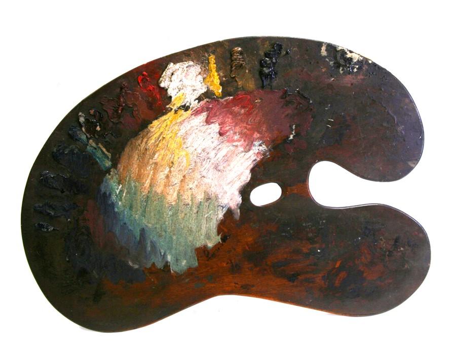 Frank O Salisbury (1874-1962) - the artist's mahogany palette used to paint The Coronation