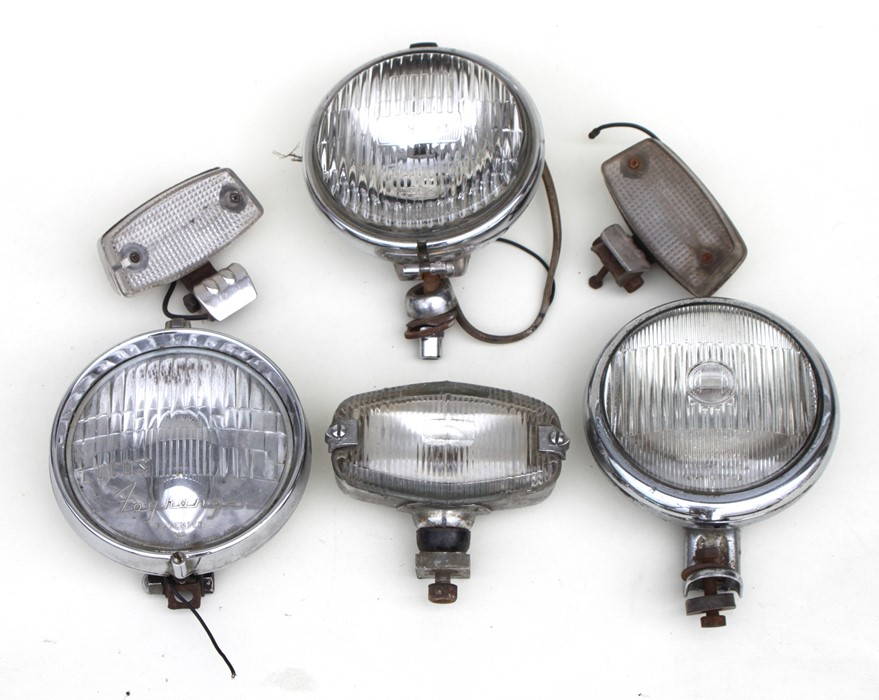 A Lucas chrome bodied 15cm (6ins) diameter spot lamps, other spot lamps and lights.