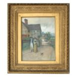 John Frederick Moffat (Victorian school) - A Couple Walking a Dog on a Country Lane - signed & dated