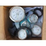 A set of Faria Corp dashboard gauges - miles per hour, fuel, oil pressure, volts, water temperature,