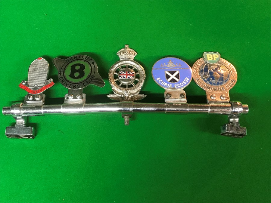 Five badge bar badges, for Bugatti Owners Club, Bentley Drivers Club, Royal Automobile Club