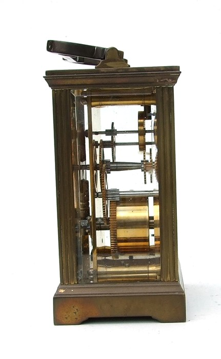 A four-pillar gilt brass carriage clock, the rectangular enamel with Roman numerals and signed 'H - Image 2 of 4