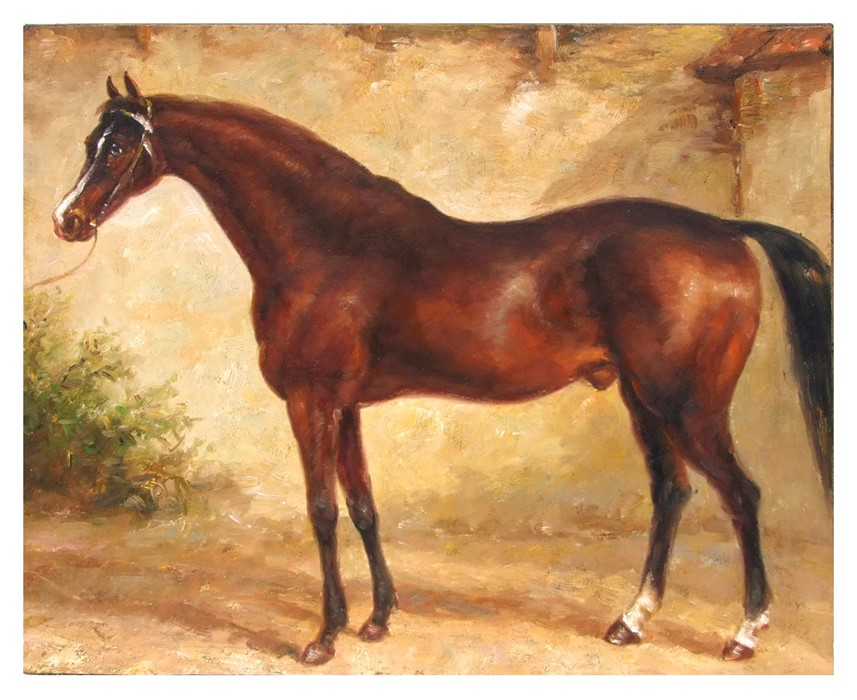 British school - A Race Horse in a Stable Interior - oil on canvas, unframed, 50 by 40cms (19.75