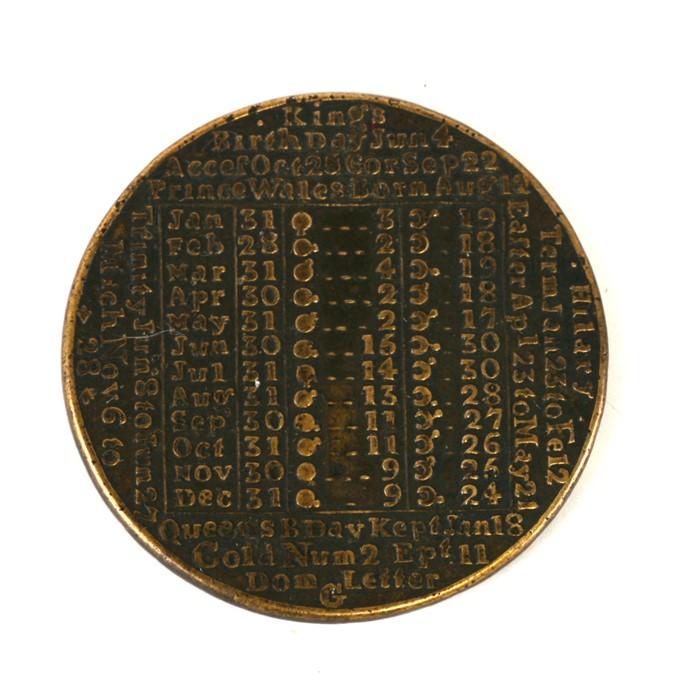 JA James Davis 1789 Calendar medallion.
