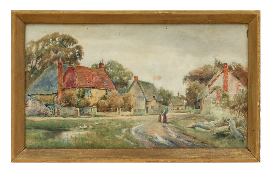 Henry Kinnaird - A Village Street Scene with Thatched Cottages and a Pond with Geese in the