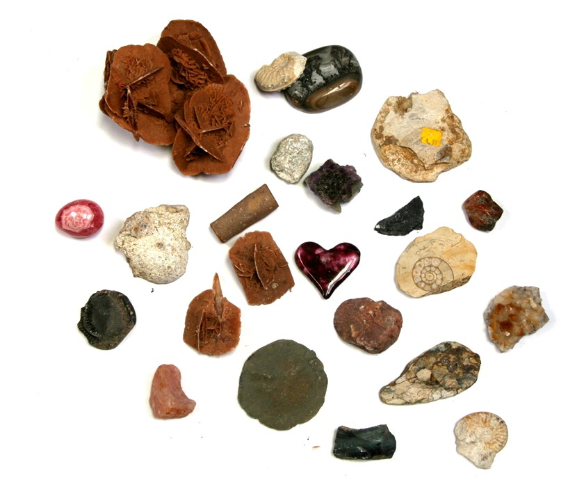A quantity of geological samples to include a large desert rose.