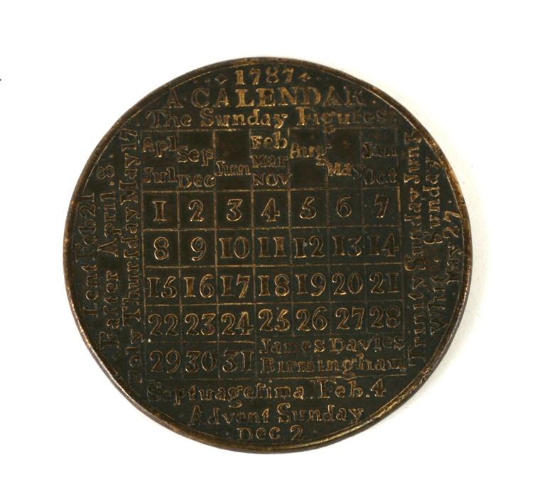 JA James Davis 1789 Calendar medallion. - Image 2 of 2