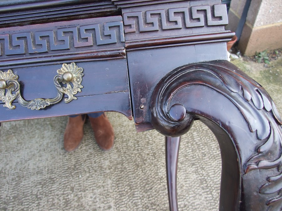 An 18th century (possibly Irish) mahogany writing table, the rectangular top inset with a later - Image 10 of 12