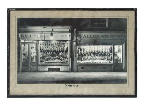 A mid 20th century black & white photo of a butcher's shop, Xmas 1948, framed & glazed, 40 by