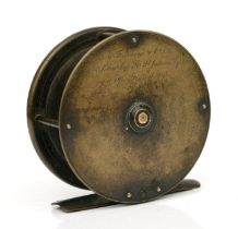 A Farlow & Co. Ltd brass centrepin fishing reel with brass foot and ivory handle, 9cms diameter.