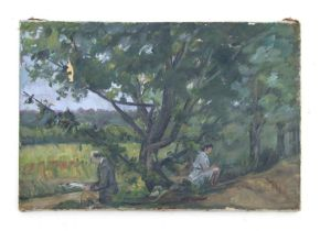 20th century British school - Landscape Scene with Two Figures Reading Under a Tree - oil on canvas,