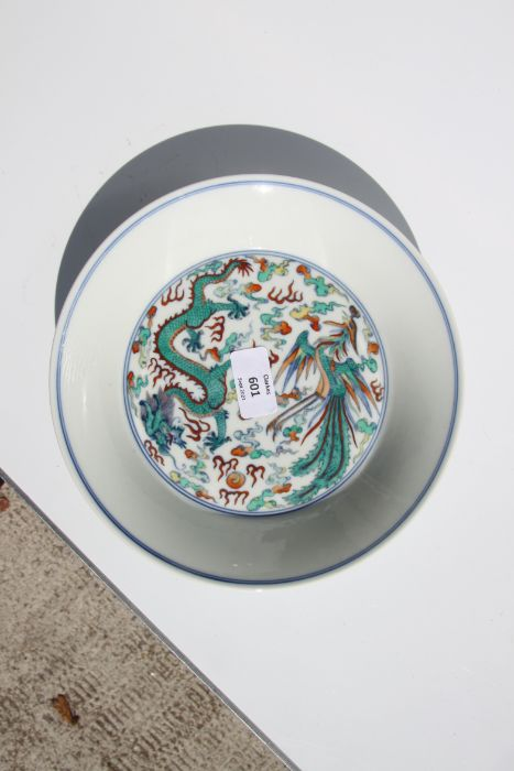 A Chinese Ducai shallow dish decorated with a dragon and phoenix chasing a flaming pearl amongst - Image 4 of 9