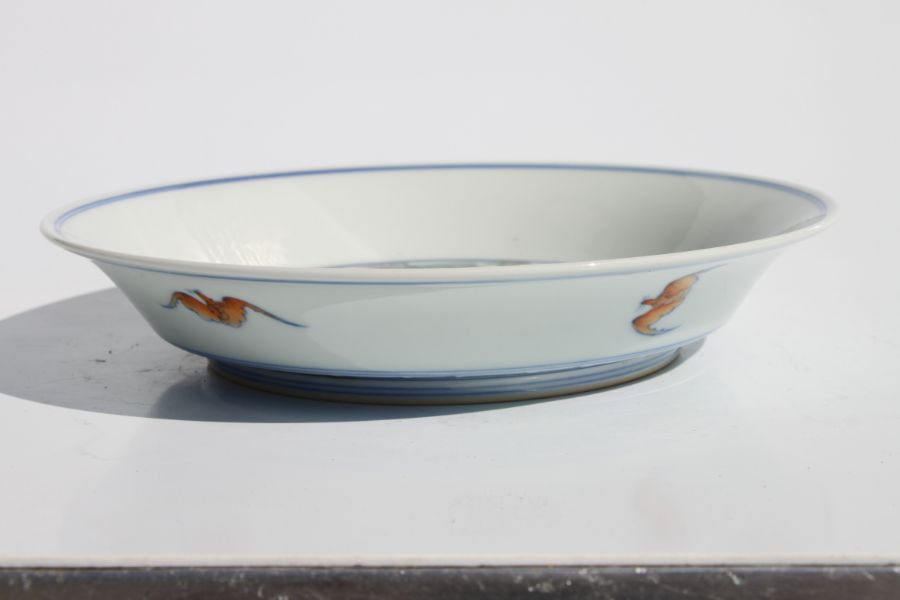 A Chinese Ducai shallow dish decorated with a dragon and phoenix chasing a flaming pearl amongst - Image 8 of 9