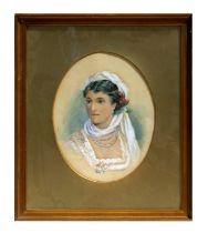 Victorian school - an oval bust portrait of a young lady wearing flowers in her hair and a four-